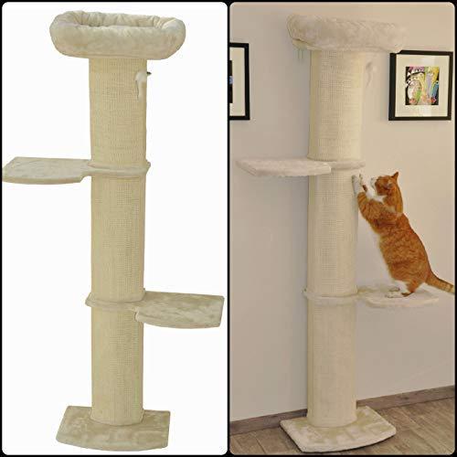 nanook Katzen-Wandkratzbaum Kratzbaum Stella 186 cm - Katzenbett und Sisalsäulen - Wandmontage - beige