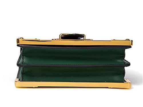 XinMaoYuan kleine Tasche Retro Square Bag Schulter Messenger Hit Color Handtaschen aus Leder Grün-Schwarz
