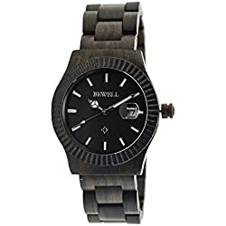 Men's watch with wooden bracelet, quartz watches made of wood, with indication of date