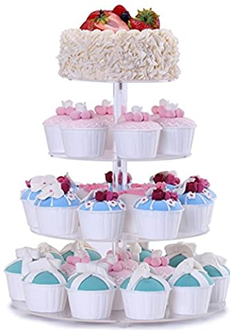 4-Tier Stand de Cupcake Round Tower Affiche Dessert Plaque acrylique Plateau de service de fête Super fournitures pour les divertissements de vacances (Bonus Stable Pillars, Screw Driver)