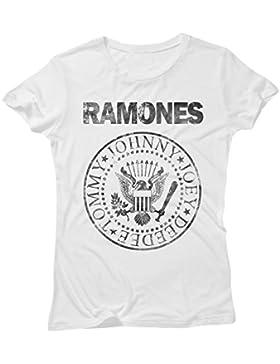 LaMAGLIERIA Camiseta Mujer Ramones Grunge Black Print - Camiseta 100% Algodòn