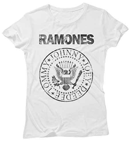 LaMAGLIERIA Camiseta Mujer Ramones Grunge Black Print - Camiseta 100% algodòn, M, Blanco