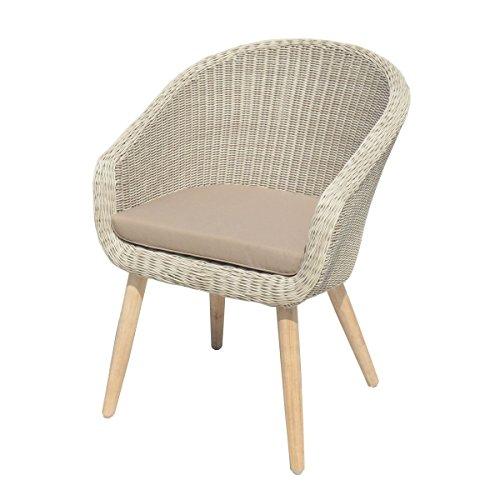 Frühling Lounge-sessel Sitz (VARILANDO 5-teilige Sitzgruppe aus pfeffer-weißem Kunststoffgeflecht und gebürsteter Akazie 4 Sessel und Tisch Garten-Gruppe Tisch-Gruppe Lounge-Gruppe)