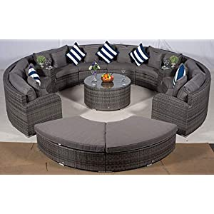 41KVlfOVS8L. SS300  - Giardino Riviera 8 Seat Grey Rattan Garden Furniture Set + Coffee Table, 2 Armrest Coolers & 2 Stools + Outdoor Furniture Covers | 13 pcs Round Rattan Sofa Set | Rattan Patio Conservatory Furniture