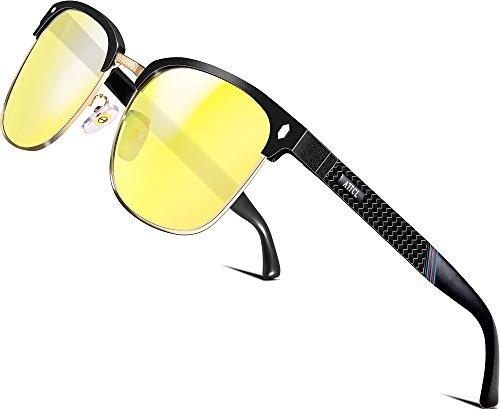 ATTCL Herren Nachtsichtbrille Autofahren Nachtfahrbrille Night Driving Sonnenbrille nachtsichtbrille autofahren Al-Mg Ultra Light Metall Rahmen 8-188 Night Vision