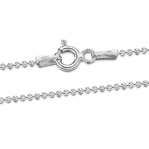 Amberta 925 Sterlingsilber Damen-Halskette - Diamantierte Kugelkette - 1.2 mm Breite - Verschiedene Längen: 40 45 50 55 60 70 80 90 cm (50cm)