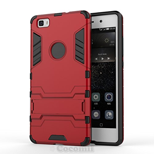 Huawei P8 lite Hülle, Cocomii Iron Man Armor NEW [Heavy Duty] Premium Tactical Grip Kickstand Shockproof Hard Bumper Shell [Military Defender] Full Body Dual Layer Rugged Cover Case Schutzhülle (Red)