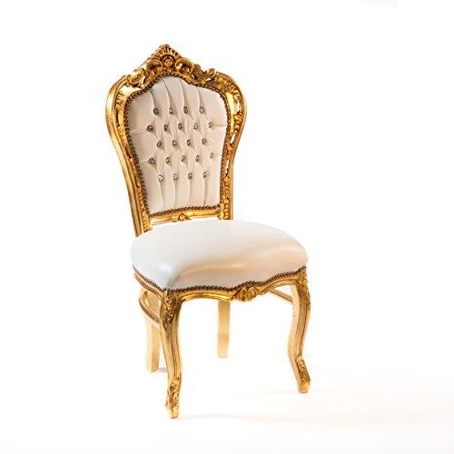 Way home store sedia oro e ecopelle bianca