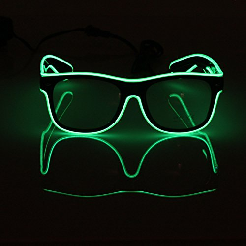 El Fashion Brille Light Up Shutter Form EL Draht Glow LED Sonnenbrille Rave Kostüm Party, Konzert, Festival, (Aviator Für Kostüme Erwachsene)