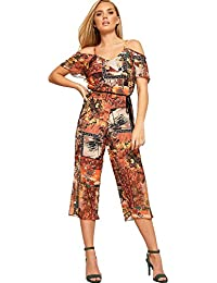 b80b7fb1fb WearAll Women s Strappy Cold Shoulder Floral Print Crepe Wide Leg Belted Ladies  Jumpsuit 6-14