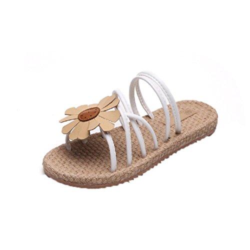 Damen Sandalen Flip-Flops f眉r den Sommer , Kaiki Frauen Blumen Flip Sandalen Schuhe Komfort Sommer Flops Mode flache Sandalen White