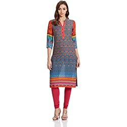 Rangriti Women's Straight Kurta (RMMPOL ART2633_Blue_32)
