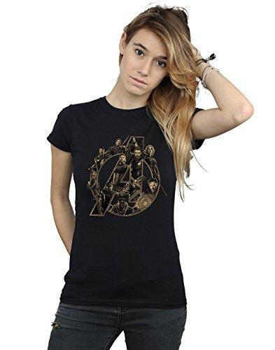Absolute Cult Avengers Damen Infinity War Avengers Logo T-Shirt Schwarz Medium (Die Avengers Tshirt)