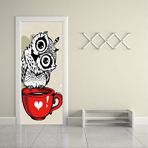 (BAIYUDE Schöne Eule Stehend Auf Rote Tasse Tür Aufkleber Dekor Kinder Kind Schlafzimmer Wohnzimmer Dekoration Tapeten Aufkleber Wohnkultur 77X200 cm)