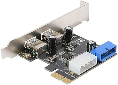 Grborn Four Ports USB 3.0 Super Fast 5Gbps PCI-E Expansion Card PCI Express Adapter Converter Card Power Supply Module For Desktop PC with 2U Low-profile Bracket
