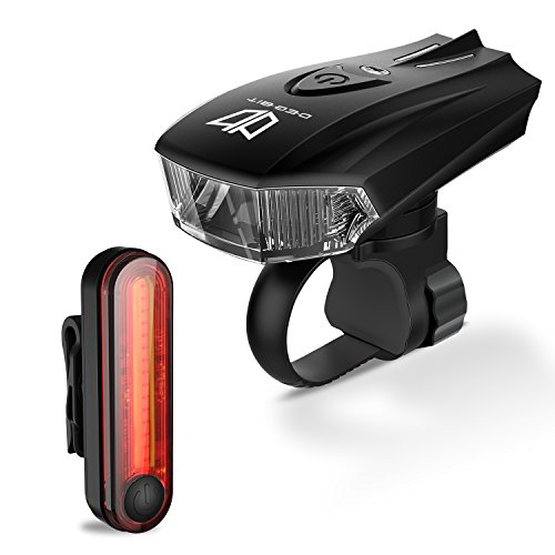 Bike Lights, Degbit® USB Rechargeable Bike Light Set, Mountain Bike Light, Cycle Lights, LED Bicycle Lights Rechargeable, Quick Release, USB rechargeable front light and tail light