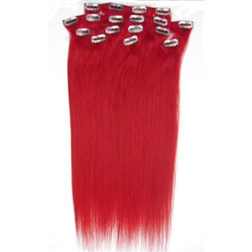 100% cheveux remy Lot de 8 50,8 cm cheveux clip dans Extension de cheveux droite rouge Poids : 100 g