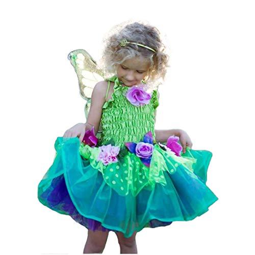 3 Jahre 2 Kostüm Tinkerbell - Trullala Feenkleid grün mit Flügeln, Feenkostüm, Größe: S (2-4 Jahre)