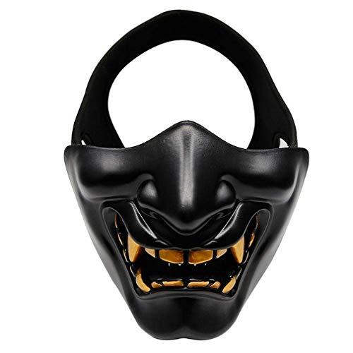 Ninja Demon Kostüm - WUZHENG Samurai Airsoft Maske Tactical Prajna Half Face Hannya Oni Motorrad Evil Demon Knight Kabuki Maske Für Halloween Cosplay Kostüm Jagd Schießen