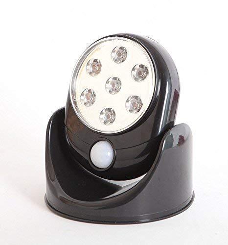Weddecor Bewegungsempfindlicher 360° Infrarot Sensor LED Lichter Innen Außen Garten Terrasse Wand Schuppen Auto-Sensing Weg Drahtlos Lampe - Weiße - Schwarz, 1pc - Blk-lampen