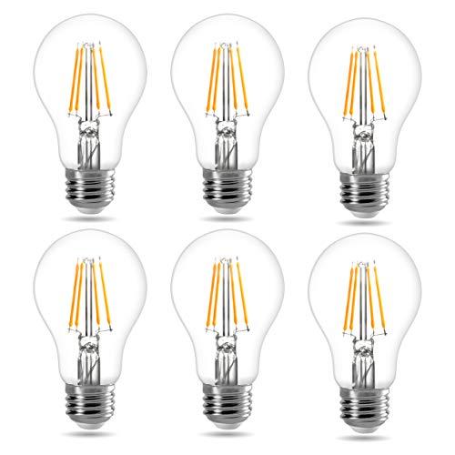 LE E27 LED Filament Lampe, 7W 806 Lumen Classic Lampe Birnen in Kolbenform, 2700 Kelvin Warmweiß, ersetzt 60 Watt, Filamentstil Klar, 6er Pack
