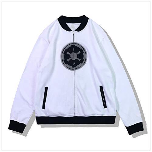 SW Kapuzenpullover Frühling Herbst Baseball Jacke Weiß Zip Polyester Sweatshirt Kleidung für Erwachsene Cosplay Kostüm