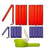 clip2friend Set Nr. 5 (21-teilig) | 20 Tüten-Clips/Beutel-Clips/Gefrierbeutel-Verschluss-Clips/Tütenverschließer/Aromaclips/Verschlussklemmen und 1 Ausschütt-Clip (5 cm Durchmesser) | Tüten-Clips/Gefrierbeutel-Clips in den Farben rot (11 cm Länge) und blau (6 cm Länge)