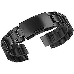 Zeiger Herren nickelfrei High Qualität Ersatz Metall Armbanduhr Band (Edelstahl schwarz 18mm)