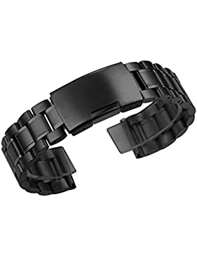 Zeiger Uhrenarmband 22mm Edelstahl Uhr Armbänder Schwarz Faltschließe Uhr Band für Herren Damenuhren B006