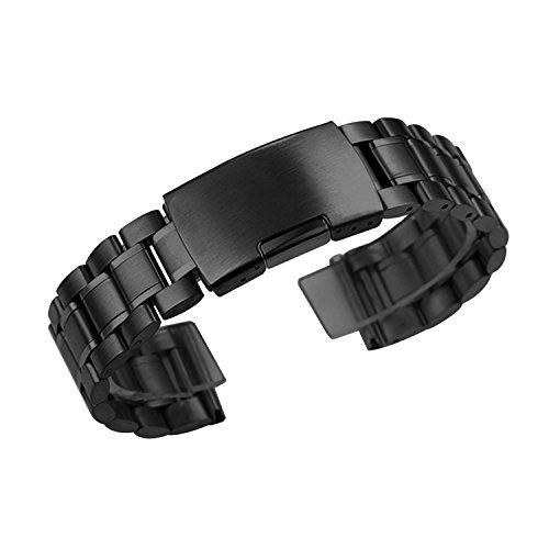 Zeiger Uhrenarmband 22mm Edelstahl Uhr Armbänder Schwarz Faltschließe Uhr Band für Herren Damenuhren B011 (Männer Edelstahl Für Uhrenarmbänder)
