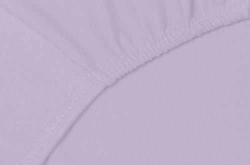 Double Jersey - Spannbettlaken 100% Baumwolle Jersey-Stretch bettlaken, Ultra Weich und Bügelfrei mit bis zu 30cm Stehghöhe, 140x200x30 Lavender - 5