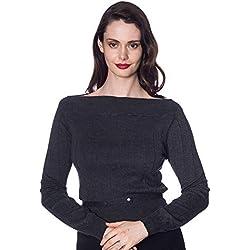 Banned Jersey o Suéter de Punto Estilo Retro Vintage - Gris XL