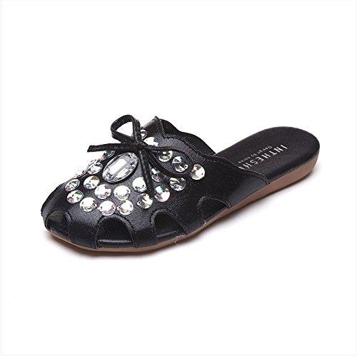 XY&GKFrauen mit flachem Boden halb ausgehöhlt, Hausschuhe Hausschuhe Sommer Wasser 39 black