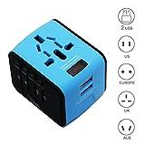 Panboo Neuester Reiseadapter World Travel Adapter Universal Weltweit Reisestecker 2 USB-Ports mit LED Strom- und Spannungsanzeiger für 150 Ländern EU/UK/USA/AU Stecker