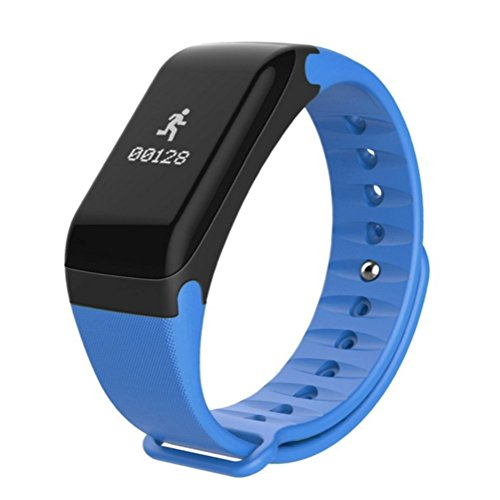 LJXAN Männer und Frauen Smart Armbänder messen Herzfrequenz und Blutdruck Gesundheit Übung Schritt Zähler Wasserdicht Bluetooth Smart Armband ZYXCC (Farbe : Blau)