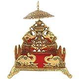 Handicrafts Paradise Metal Singhasan with Umbrella (Golden, 8 x 10)