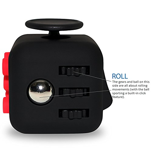 Fidget Cube Toy Anxiety Attention Stress Relief for Children and Adults Black (Red) - High Quality Build -