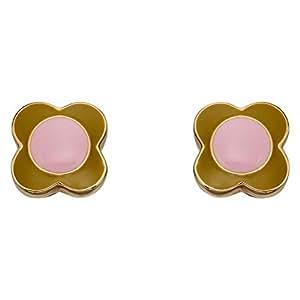 Orla Kiely Rose et Vert Fleur Boucles d'oreille à tige