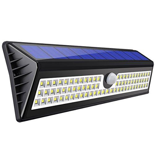 AMIR 77 LED Solarleuchten Garten, Solar Betriebene Außenleuchte, Außen Wandleuchte, 3 Modi Sicherheit Bewegungs Sensor Licht, IP65 Waterproof Solar LED Lampe für Garten, Patio, Garage, - Garage Sensor Licht
