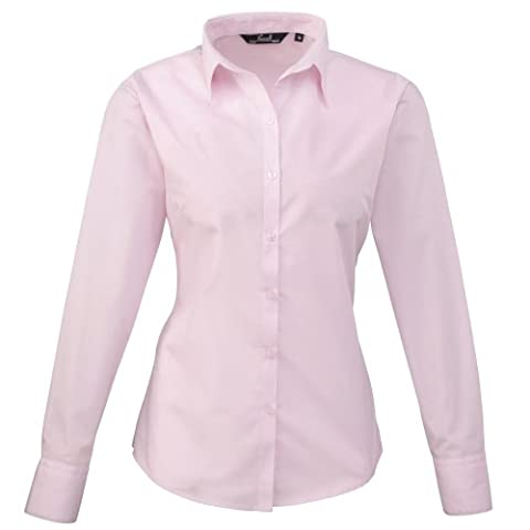 Premier Womens/Ladies Poplin Long Sleeve Blouse / Plain Work Shirt (12) (Pink)
