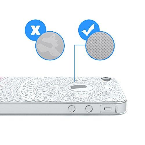 """Apple iPhone 4S / 4 Hülle, EAZY CASE Cover """"Henna"""" - Premium Handyhülle mit Indischer Sonne - Transparente Schutzhülle in Weiß / Transparent Weiß / Rosa"""