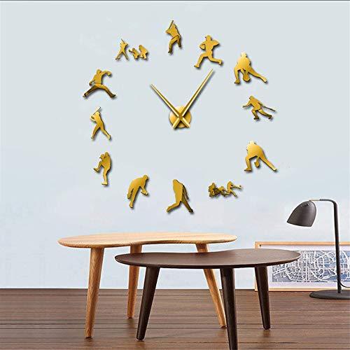 Mzdpp Dekorative Baseball Wanduhr 3D Rahmenlose DIY Giant Clock Uhr Spiegeleffekt Softball Wand Kunst Wohnzimmer Wand Dekor Gold 37 Zoll