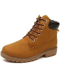 Minetom Mujer Retro Otoño Invierno Botines Calentar Botas De Nieve Anti-deslizante Lazada Zapatos Botas de Trabajo