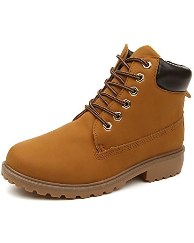 Minetom Mujer Retro Otoño Invierno Botines Calentar Botas De Nieve Anti-deslizante Lazada Zapatos Botas de Trabajo Amarillo EU