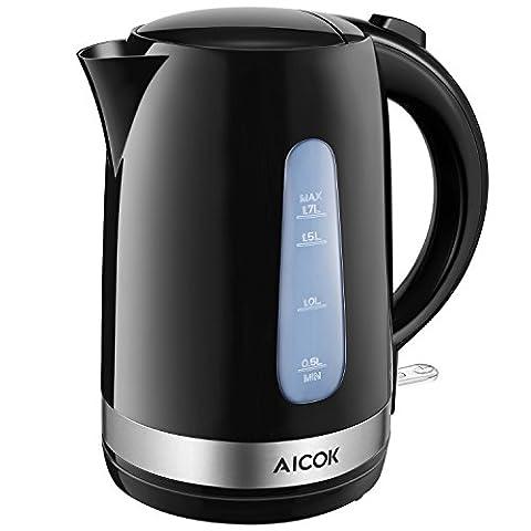 Aicok Elektrischer Wasserkocher, Schnelle und Sichere Teekanne, Anti-Verbrühen Griff, Kabellos,