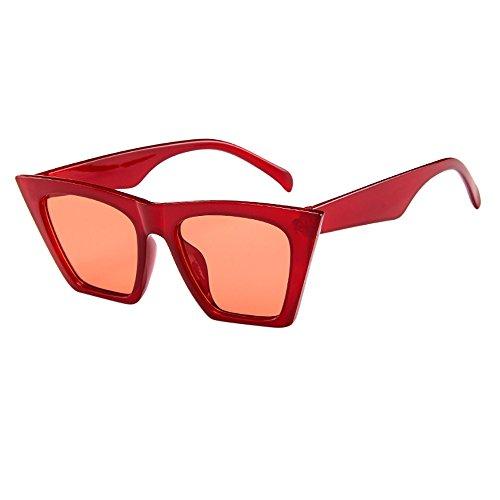 Sommer Brille FORH Unisex Mode Polarisierte Katzenaugen Sonnenbrille Klassische Unregelmäßige Rahmen Gläser Outdoor Sportarten Schutz Brille UV-Schutz Fahrbrille (Rot ️♀️)