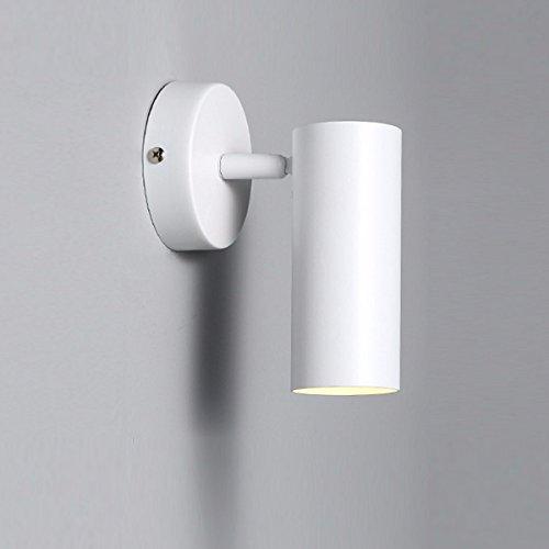 LONFENNE Einfachheit Industrial Metal Base mit LED-Wandleuchte, Spiegel, Lampe, 7-W-LED-Wand Scones für Badezimmer, Licht Nacht, Schlafzimmer, Kinderzimmer für Wandleuchte Lampe (Schwarz), Weiß -