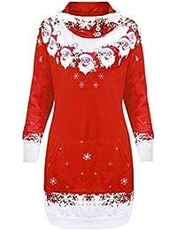 Bealeuy Weihnachtspullover Damen Weihnachten Weihnachtsmann Schneeflocke Print Pocket Caps Tops Sweatshirts Große Größe Pullover Hoodie Langer Abschnitt Plus SAMT zum Warmhalten