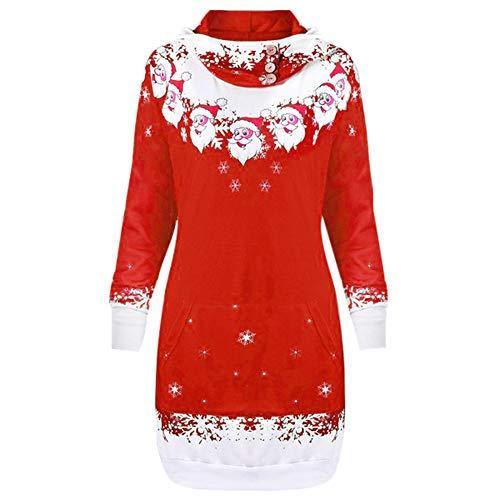 OverDose Damen Pullover Pullover Frauen Weihnachten Weihnachtsmann Schneeflocke Print Party Clubbing Schlanke Tasche Caps Tops Sweatshirts Outwear(Z-a-Rot,M) (Weihnachtsmann Postkarten)
