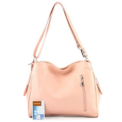 modamoda de - ital. Ledertasche Damentasche Umhängetasche Tasche Schultertasche Leder T119 Rosa
